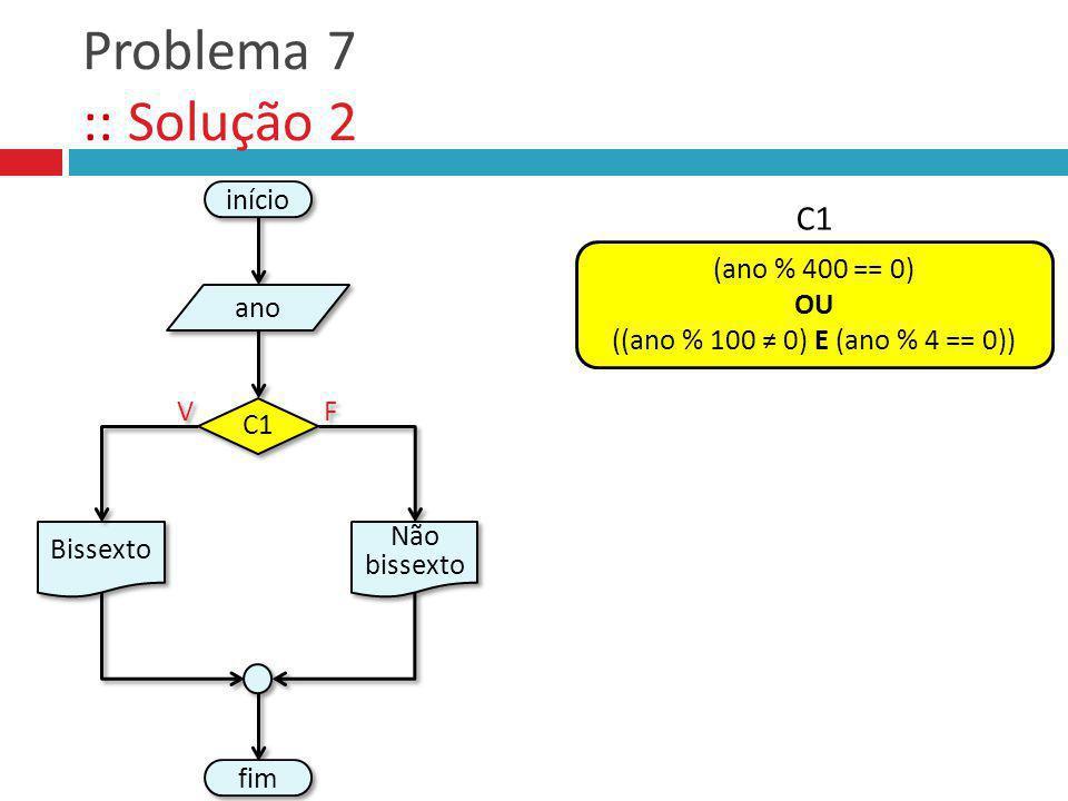 Problema 7 :: Solução 2 fim Não bissexto V V F F início ano Bissexto C1 (ano % 400 == 0) OU ((ano % 100 0) E (ano % 4 == 0)) C1