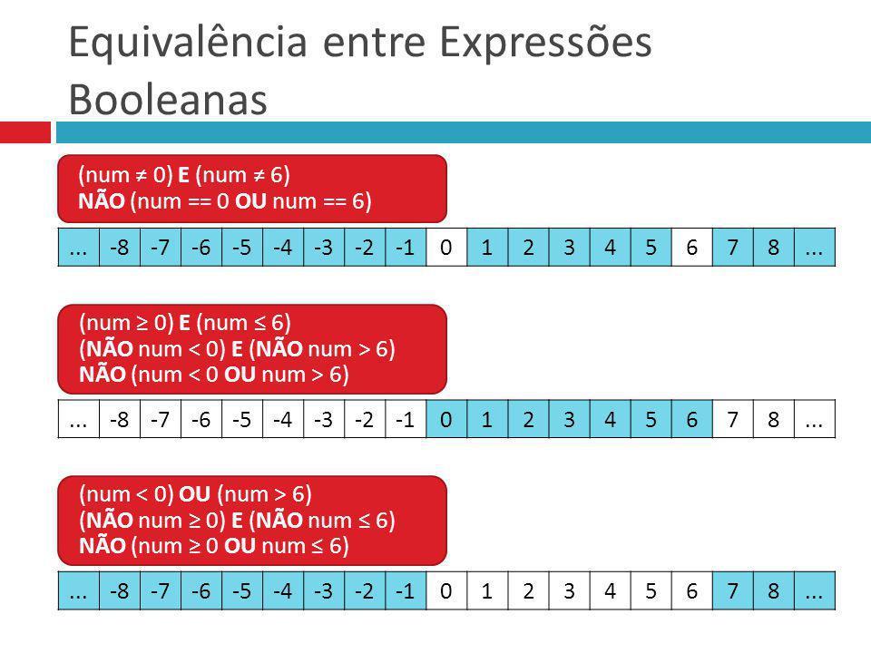 Equivalência entre Expressões Booleanas (num 0) E (num 6) NÃO (num == 0 OU num == 6) (num 0) E (num 6) (NÃO num 6) NÃO (num 6) (num 6) (NÃO num 0) E (