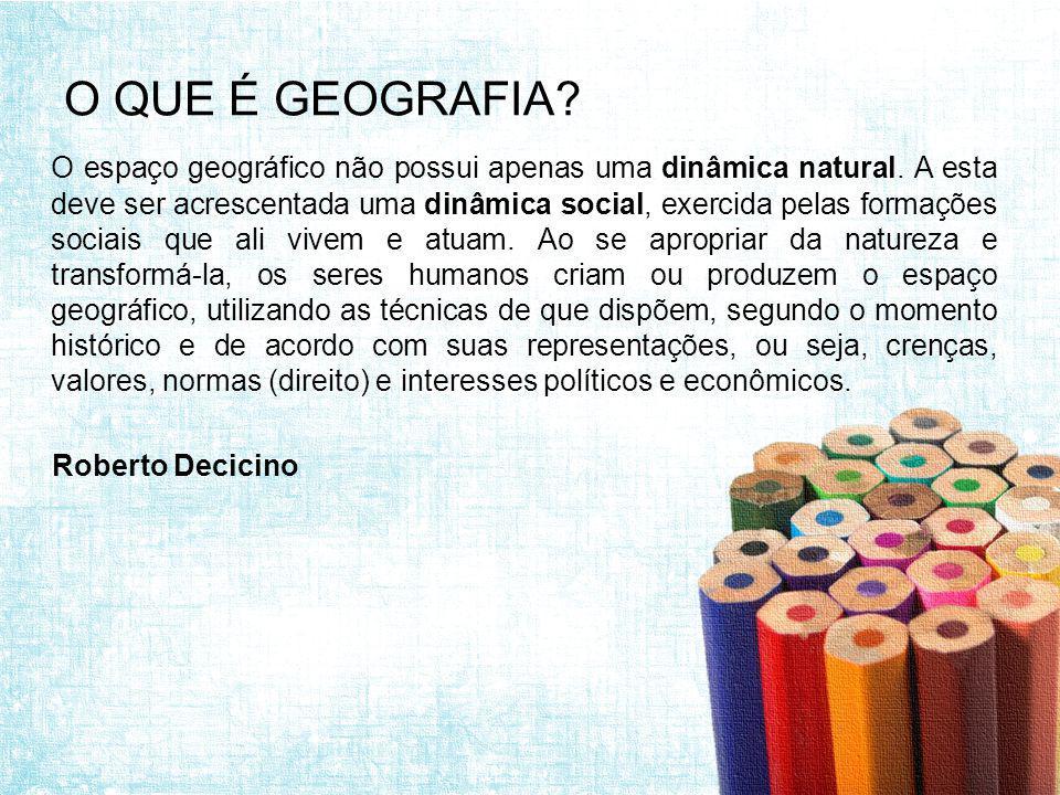 O QUE É GEOGRAFIA.O espaço geográfico não possui apenas uma dinâmica natural.