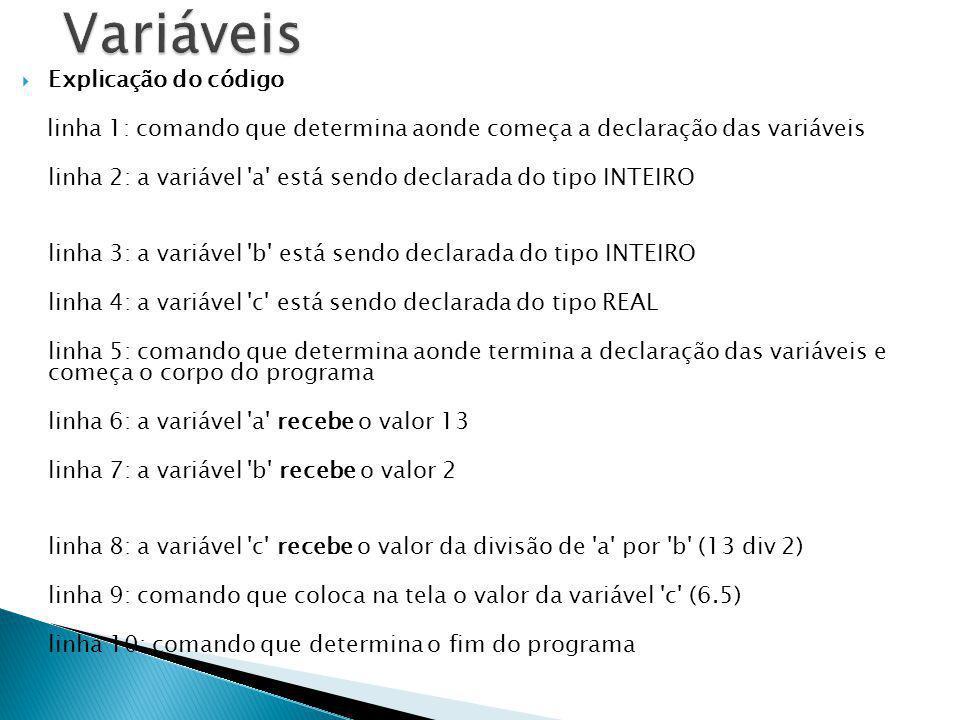 Explicação do código linha 1: comando que determina aonde começa a declaração das variáveis linha 2: a variável 'a' está sendo declarada do tipo INTEI