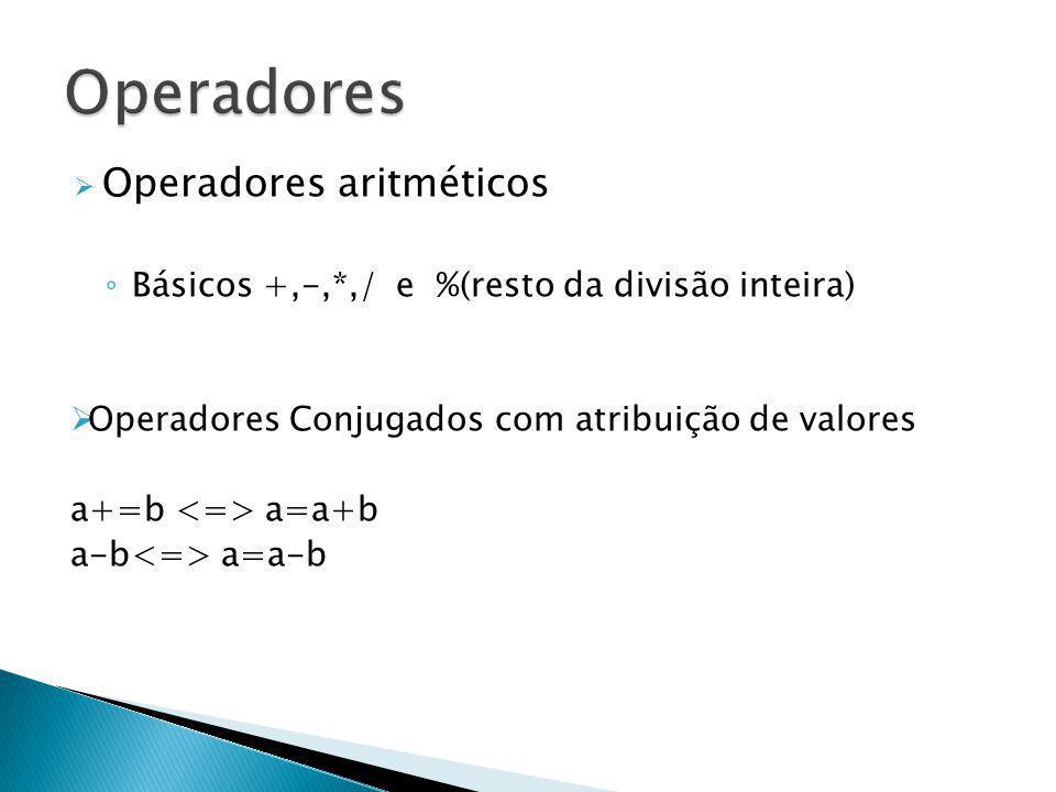 Operadores aritméticos Básicos +,-,*,/ e %(resto da divisão inteira) Operadores Conjugados com atribuição de valores a+=b a=a+b a-b a=a-b