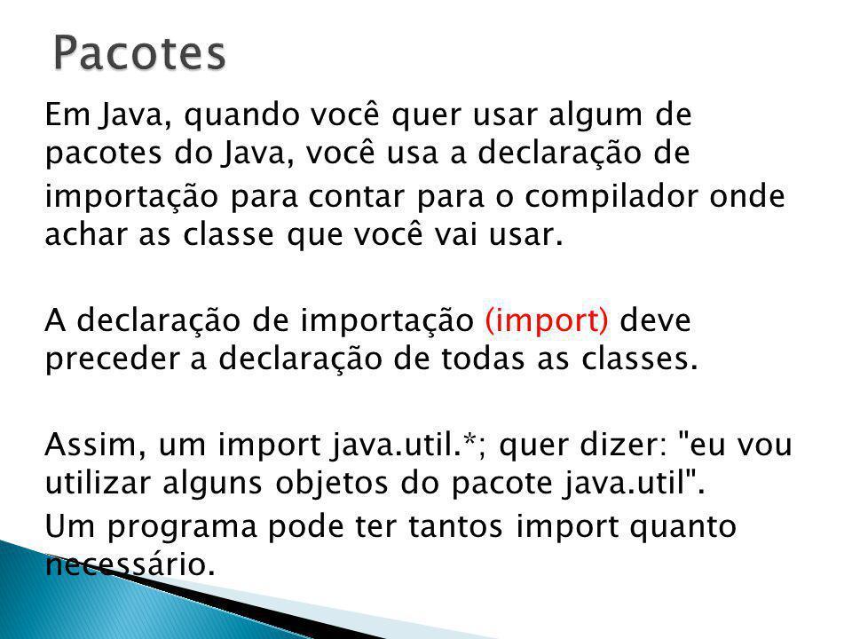 Em Java, quando você quer usar algum de pacotes do Java, você usa a declaração de importação para contar para o compilador onde achar as classe que vo