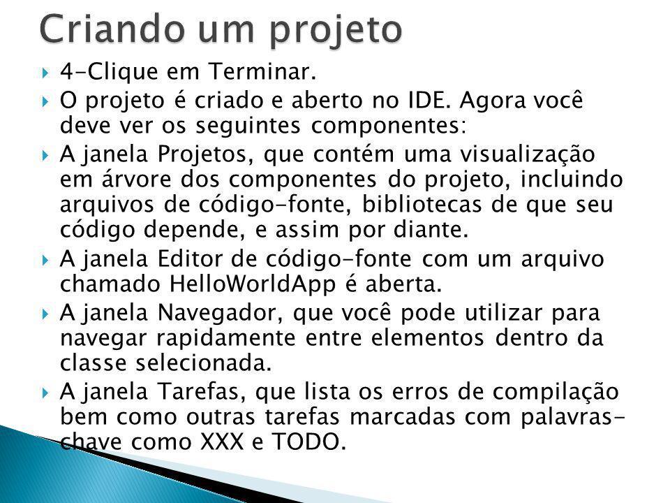 4-Clique em Terminar. O projeto é criado e aberto no IDE. Agora você deve ver os seguintes componentes: A janela Projetos, que contém uma visualização