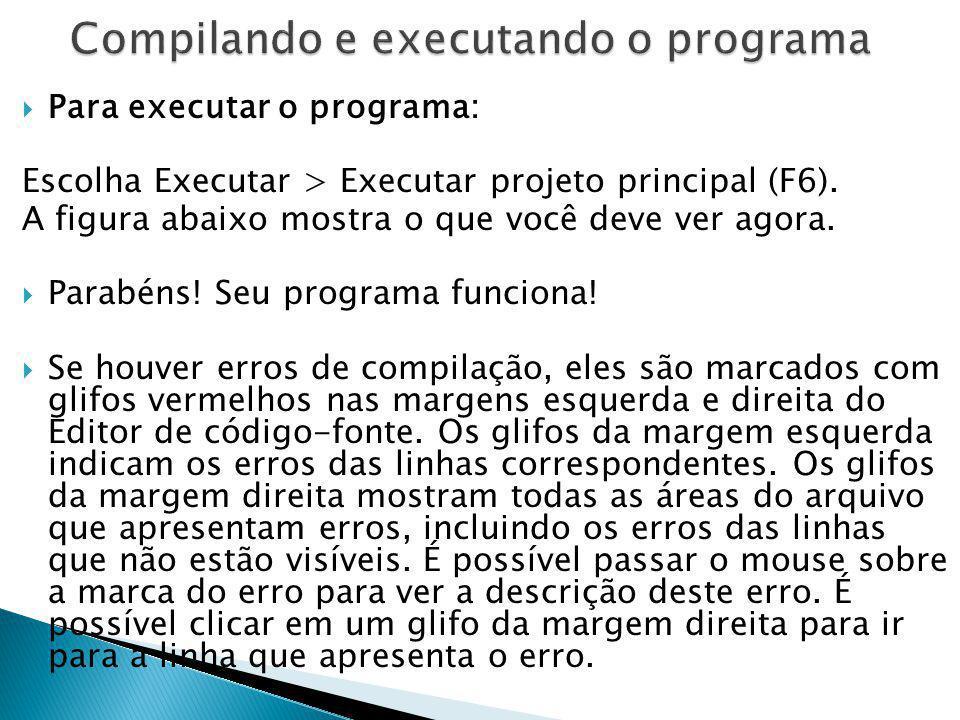 Para executar o programa: Escolha Executar > Executar projeto principal (F6). A figura abaixo mostra o que você deve ver agora. Parabéns! Seu programa