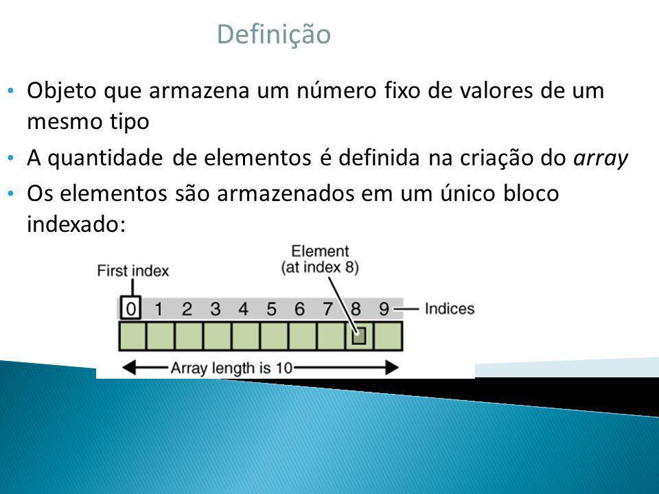 Definição Objeto que armazena um número fixo de valores de um mesmo tipo A quantidade de elementos é definida na criação do array Os elementos são arm