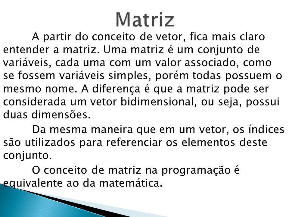 A partir do conceito de vetor, fica mais claro entender a matriz. Uma matriz é um conjunto de variáveis, cada uma com um valor associado, como se foss