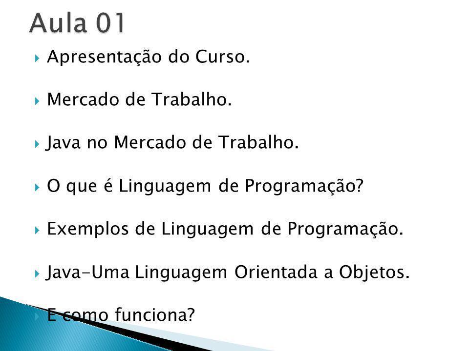 Apresentação do Curso. Mercado de Trabalho. Java no Mercado de Trabalho. O que é Linguagem de Programação? Exemplos de Linguagem de Programação. Java-