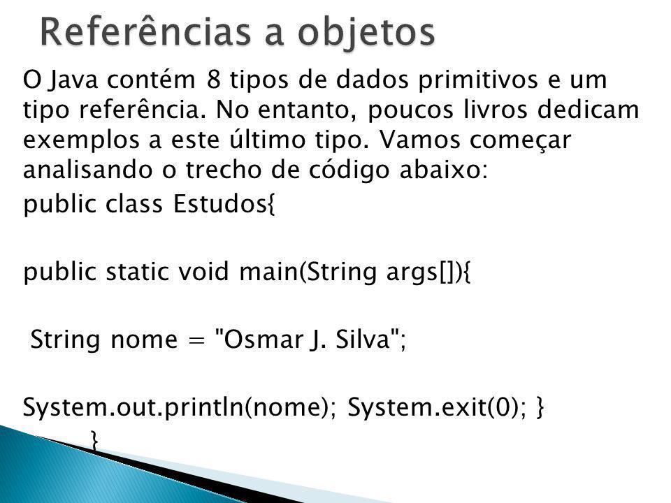 O Java contém 8 tipos de dados primitivos e um tipo referência. No entanto, poucos livros dedicam exemplos a este último tipo. Vamos começar analisand