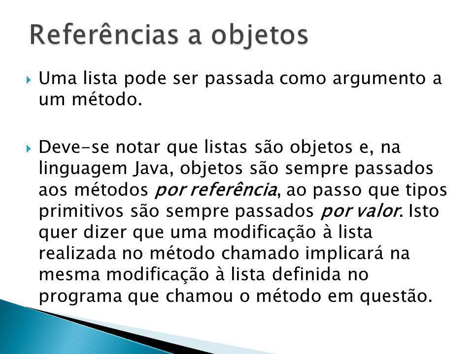 Uma lista pode ser passada como argumento a um método. Deve-se notar que listas são objetos e, na linguagem Java, objetos são sempre passados aos méto