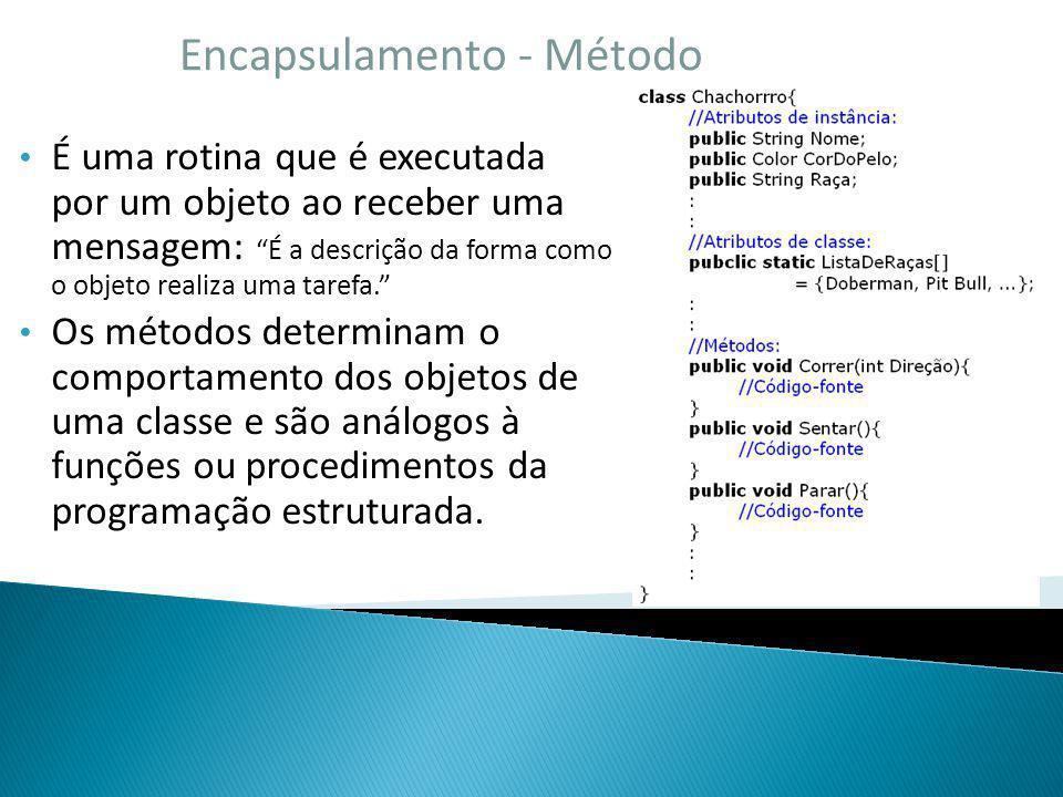 Encapsulamento - Método É uma rotina que é executada por um objeto ao receber uma mensagem: É a descrição da forma como o objeto realiza uma tarefa. O