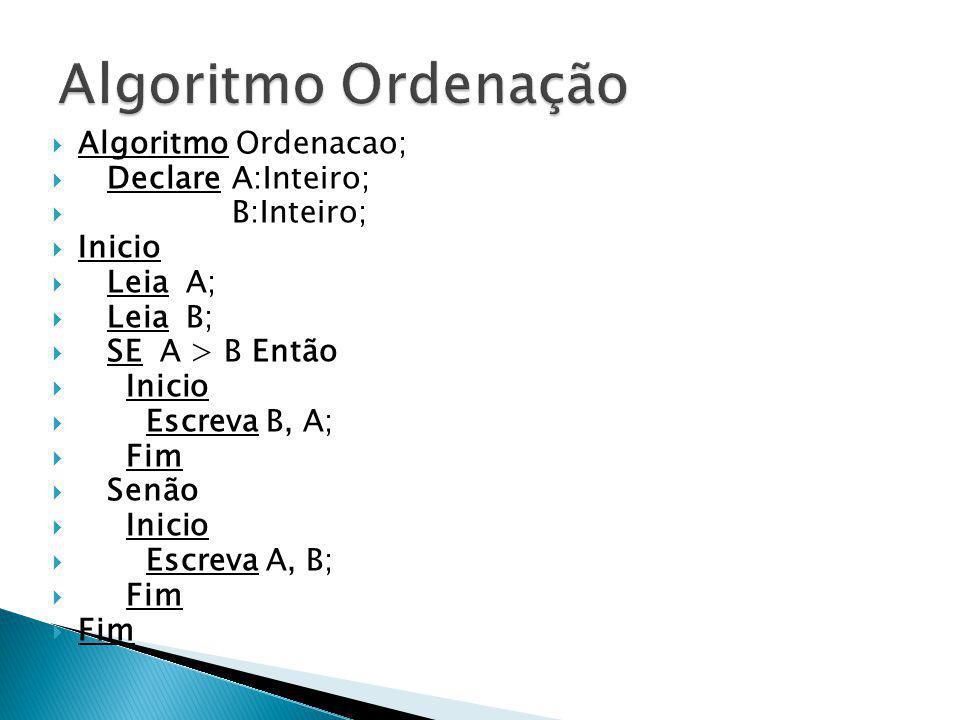 Algoritmo Ordenacao; Declare A:Inteiro; B:Inteiro; Inicio Leia A; Leia B; SE A > B Então Inicio Escreva B, A; Fim Senão Inicio Escreva A, B; Fim
