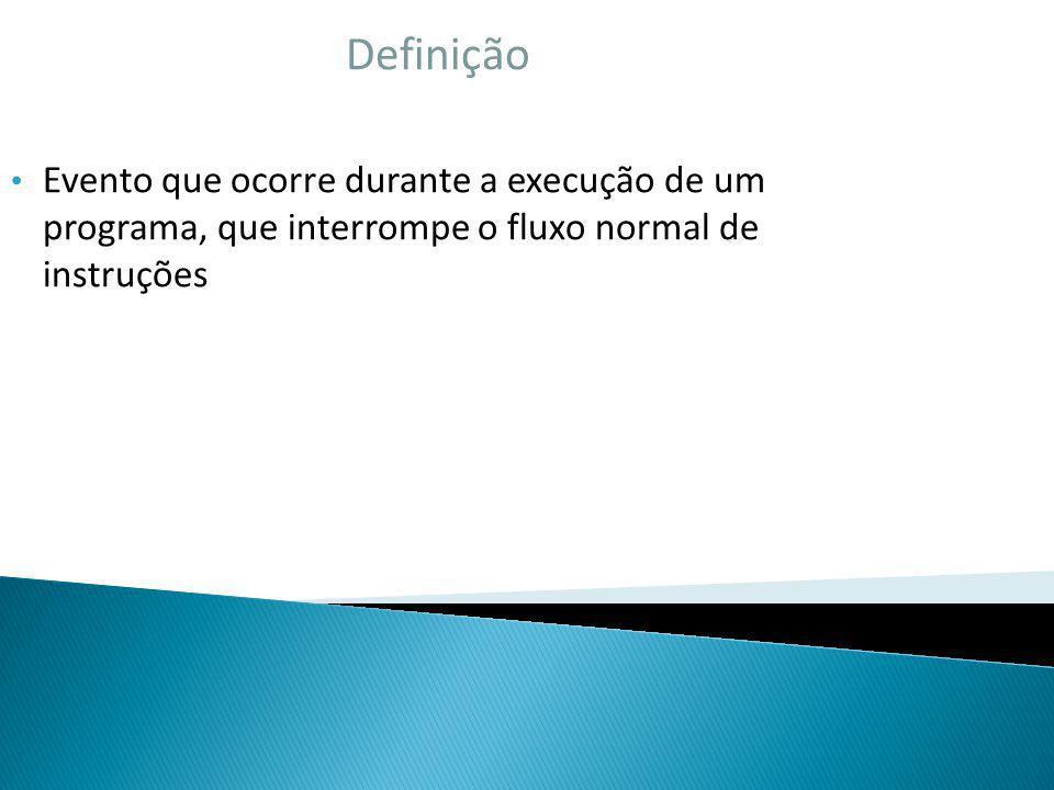 Definição Evento que ocorre durante a execução de um programa, que interrompe o fluxo normal de instruções
