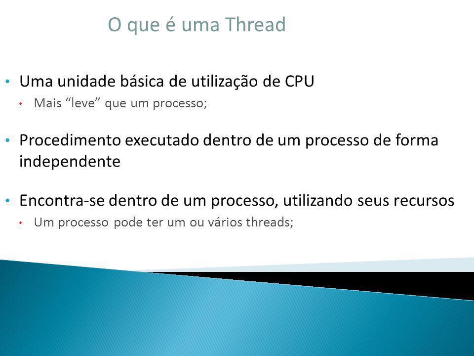 O que é uma Thread Uma unidade básica de utilização de CPU Mais leve que um processo; Procedimento executado dentro de um processo de forma independen