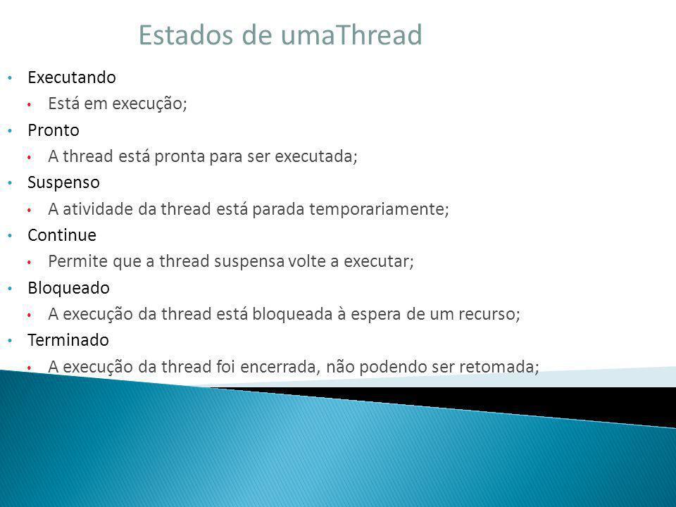 Estados de umaThread Executando Está em execução; Pronto A thread está pronta para ser executada; Suspenso A atividade da thread está parada temporari