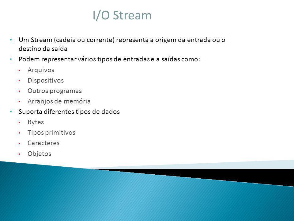 I/O Stream Um Stream (cadeia ou corrente) representa a origem da entrada ou o destino da saída Podem representar vários tipos de entradas e a saídas c
