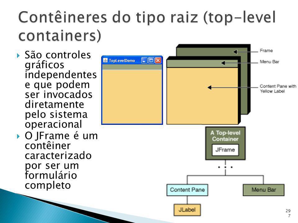 São controles gráficos independentes e que podem ser invocados diretamente pelo sistema operacional O JFrame é um contêiner caracterizado por ser um f