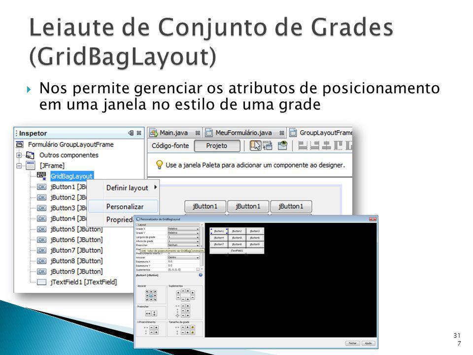 Nos permite gerenciar os atributos de posicionamento em uma janela no estilo de uma grade prof. Ricardo Pupo Larguesa317