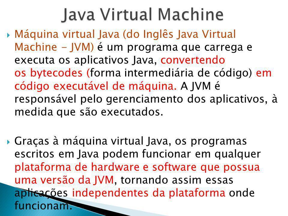Máquina virtual Java (do Inglês Java Virtual Machine - JVM) é um programa que carrega e executa os aplicativos Java, convertendo os bytecodes (forma i