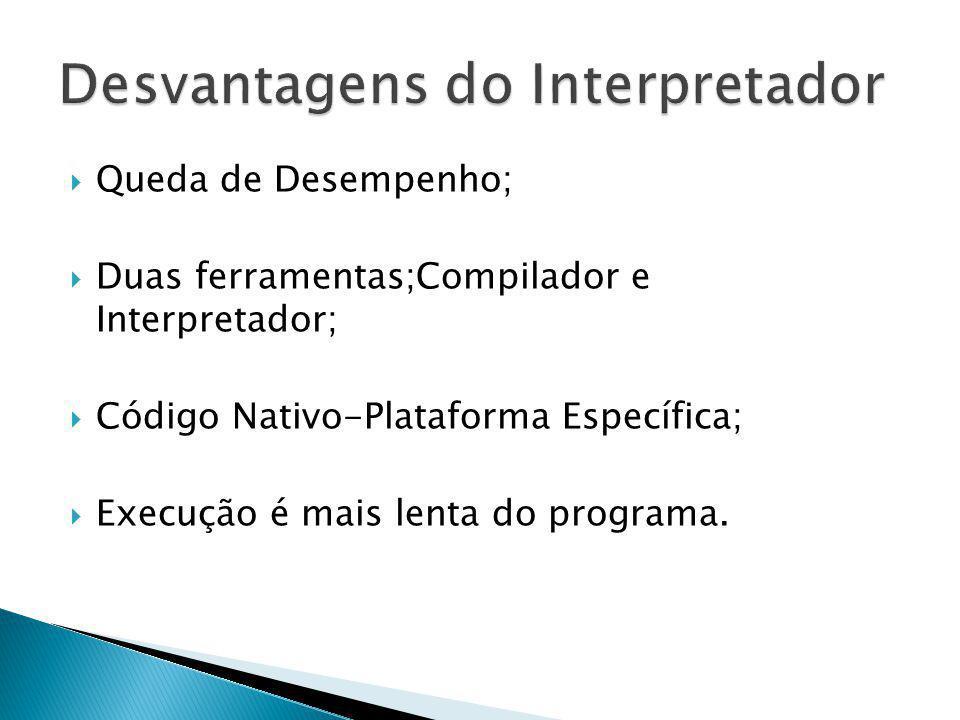Queda de Desempenho; Duas ferramentas;Compilador e Interpretador; Código Nativo-Plataforma Específica; Execução é mais lenta do programa.