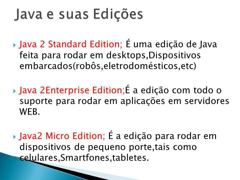 Java 2 Standard Edition; É uma edição de Java feita para rodar em desktops,Dispositivos embarcados(robôs,eletrodomésticos,etc) Java 2Enterprise Editio