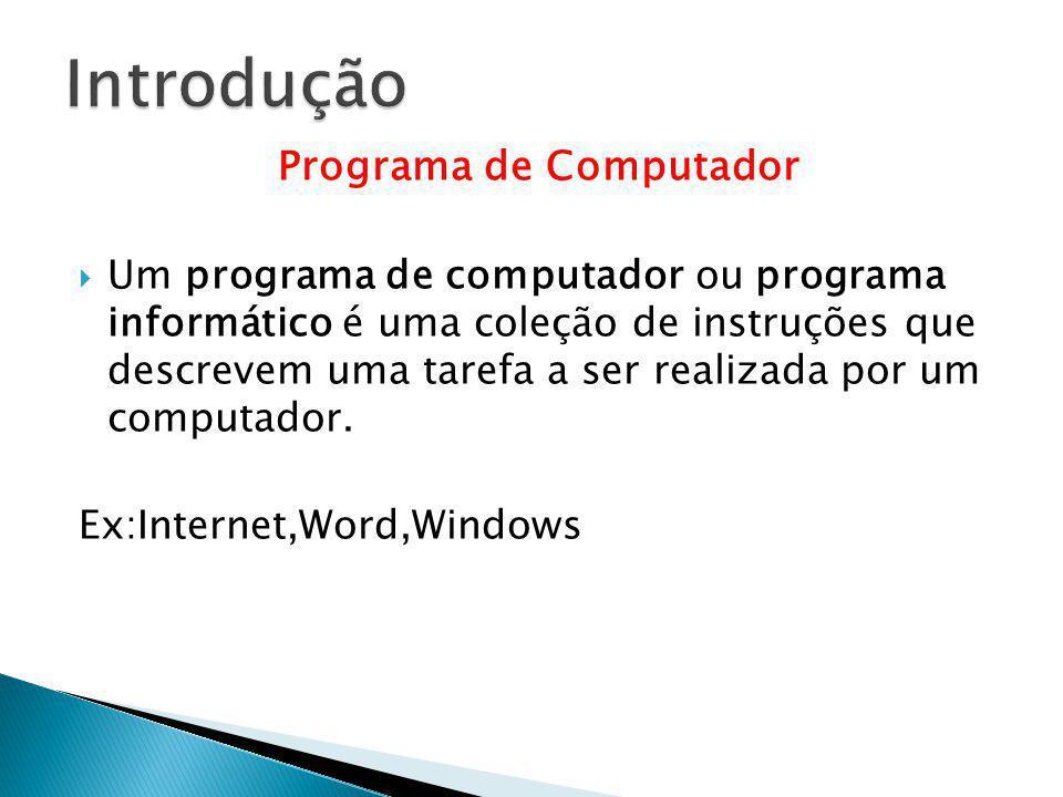 Programa de Computador Um programa de computador ou programa informático é uma coleção de instruções que descrevem uma tarefa a ser realizada por um c