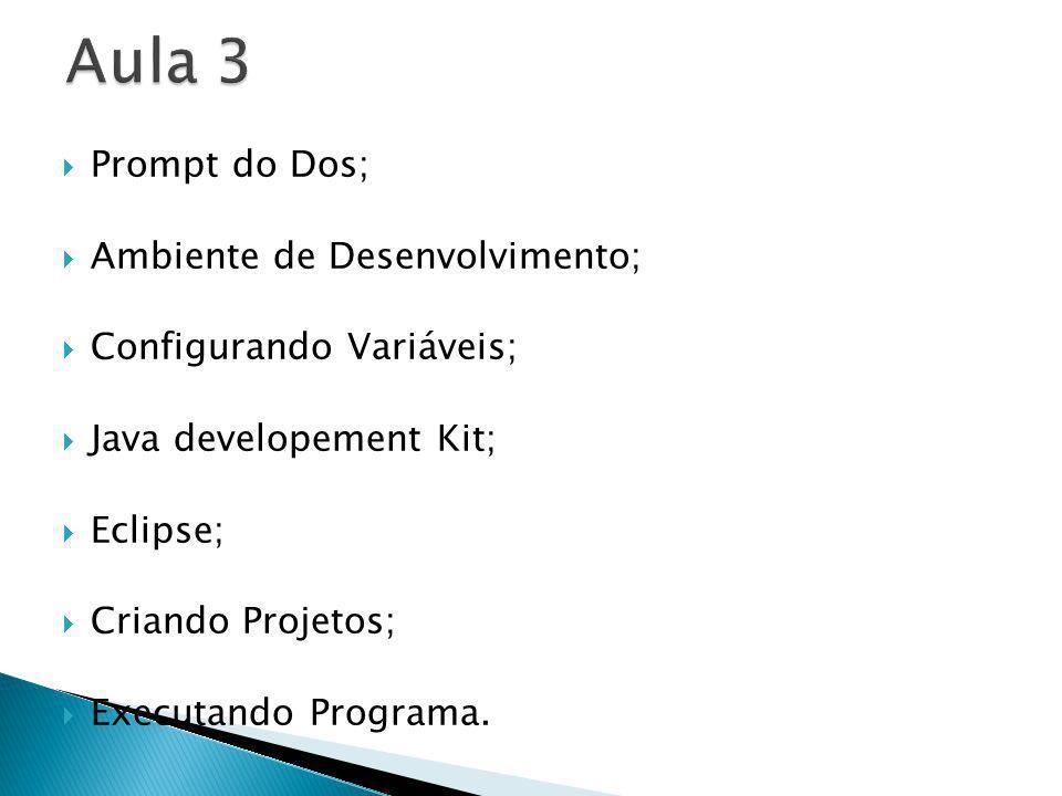 Prompt do Dos; Ambiente de Desenvolvimento; Configurando Variáveis; Java developement Kit; Eclipse; Criando Projetos; Executando Programa.