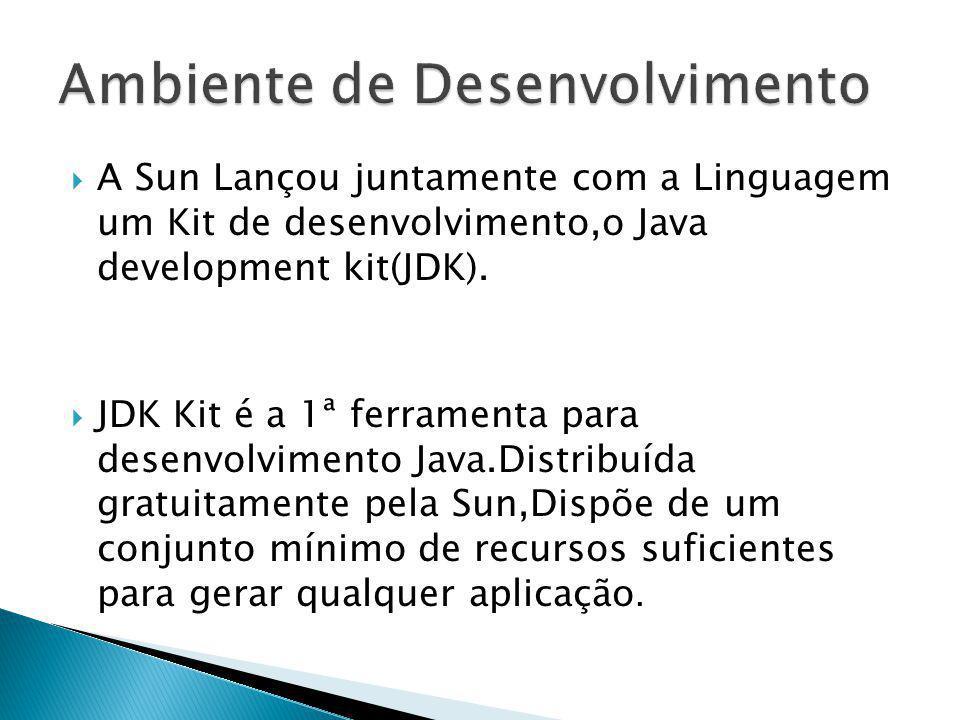 A Sun Lançou juntamente com a Linguagem um Kit de desenvolvimento,o Java development kit(JDK). JDK Kit é a 1ª ferramenta para desenvolvimento Java.Dis