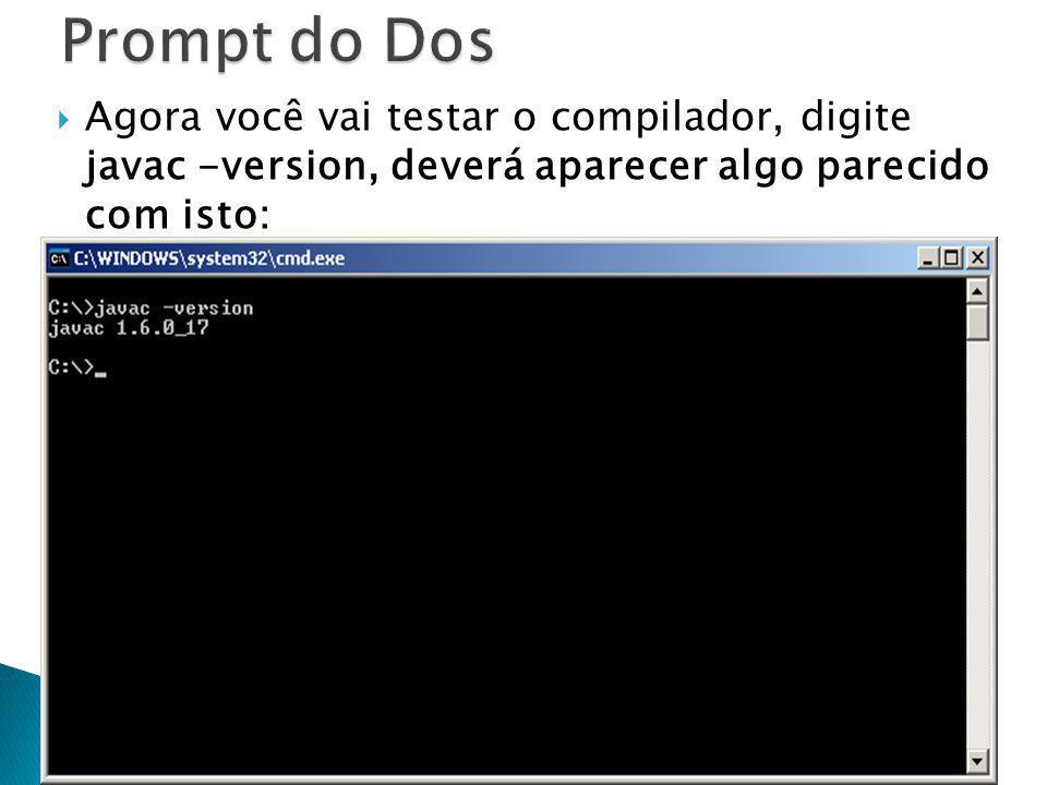 Agora você vai testar o compilador, digite javac -version, deverá aparecer algo parecido com isto: