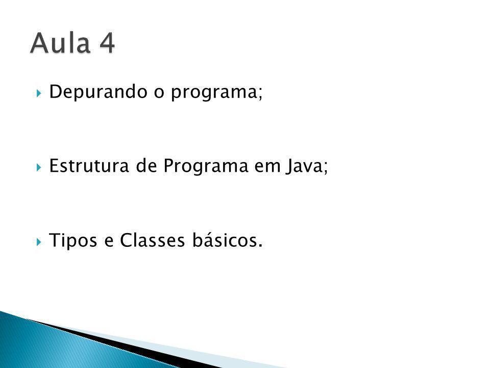 Depurando o programa; Estrutura de Programa em Java; Tipos e Classes básicos.
