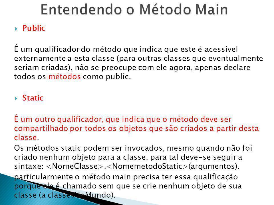Public É um qualificador do método que indica que este é acessível externamente a esta classe (para outras classes que eventualmente seriam criadas),
