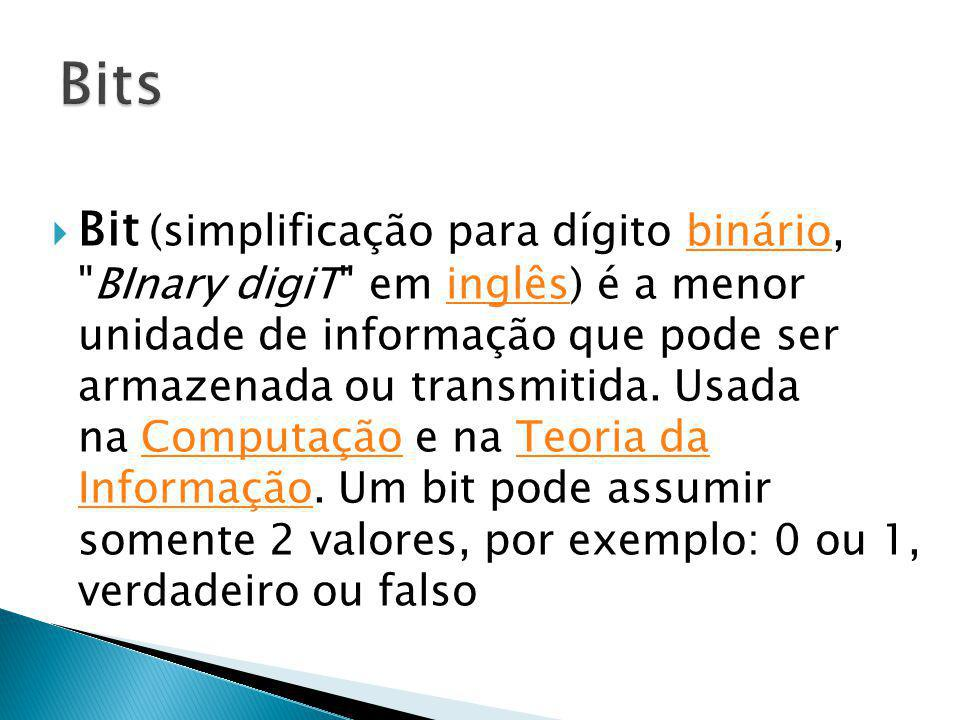 Bit (simplificação para dígito binário,