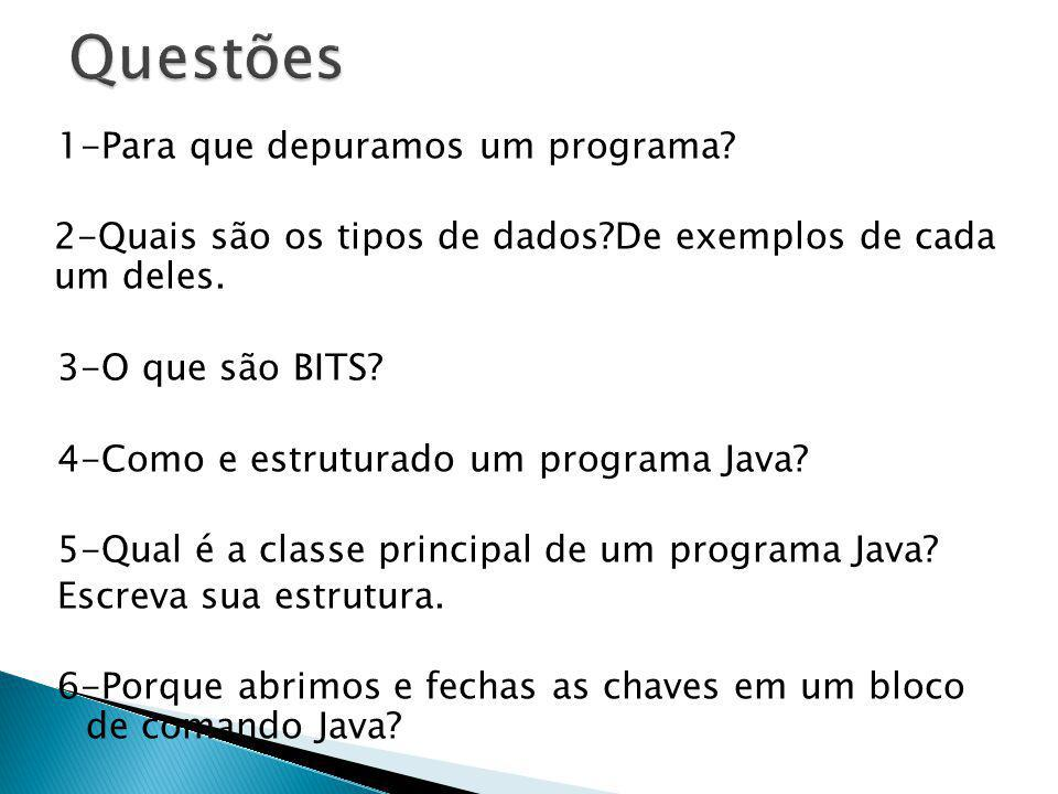 1-Para que depuramos um programa? 2-Quais são os tipos de dados?De exemplos de cada um deles. 3-O que são BITS? 4-Como e estruturado um programa Java?
