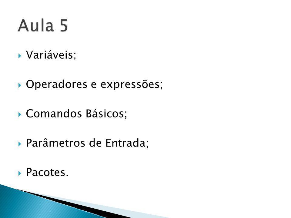 Variáveis; Operadores e expressões; Comandos Básicos; Parâmetros de Entrada; Pacotes.