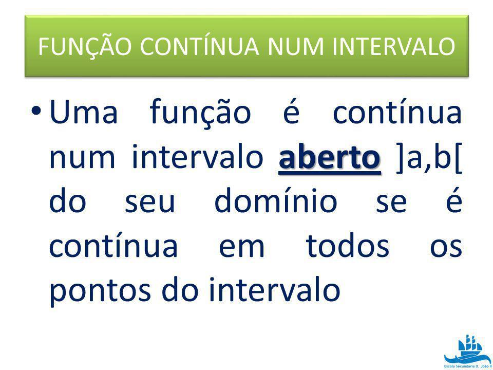 FUNÇÃO CONTÍNUA NUM INTERVALO aberto Uma função é contínua num intervalo aberto ]a,b[ do seu domínio se é contínua em todos os pontos do intervalo