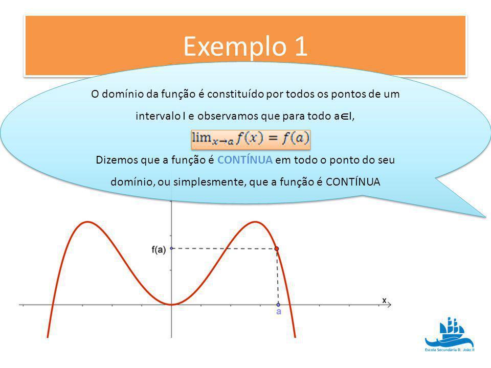 Exemplo 1 O domínio da função é constituído por todos os pontos de um intervalo I e observamos que para todo a I, Dizemos que a função é CONTÍNUA em t