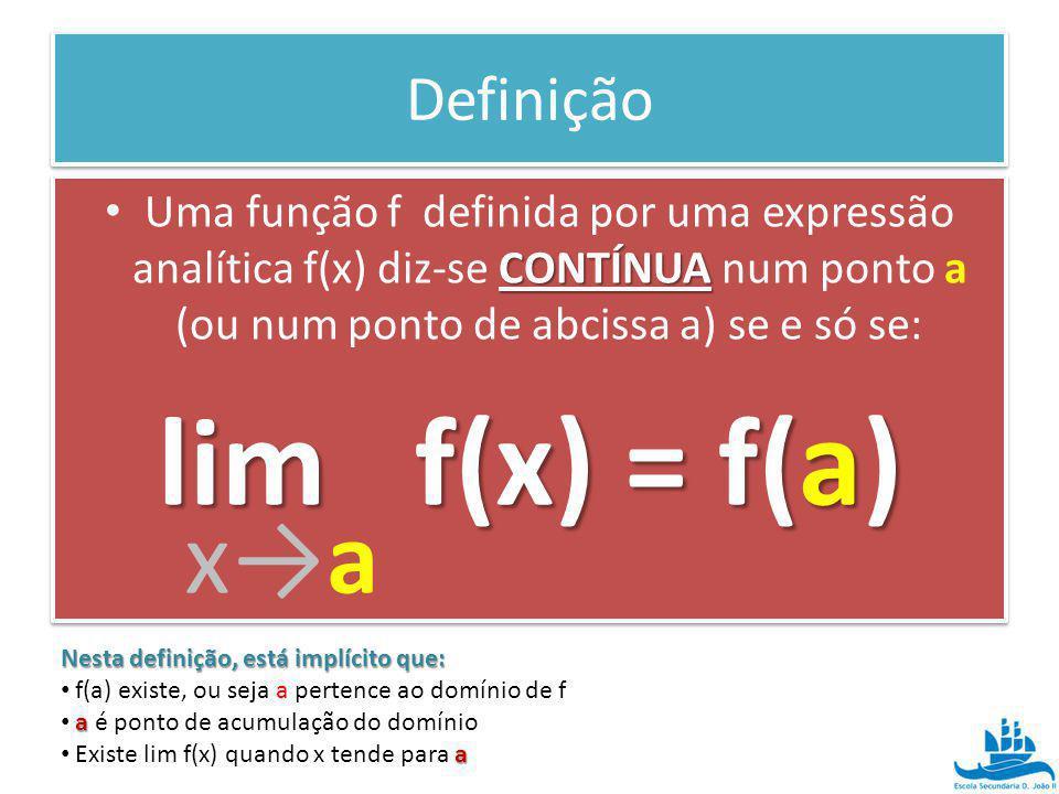 Definição CONTÍNUA Uma função f definida por uma expressão analítica f(x) diz-se CONTÍNUA num ponto a (ou num ponto de abcissa a) se e só se: lim f(x)