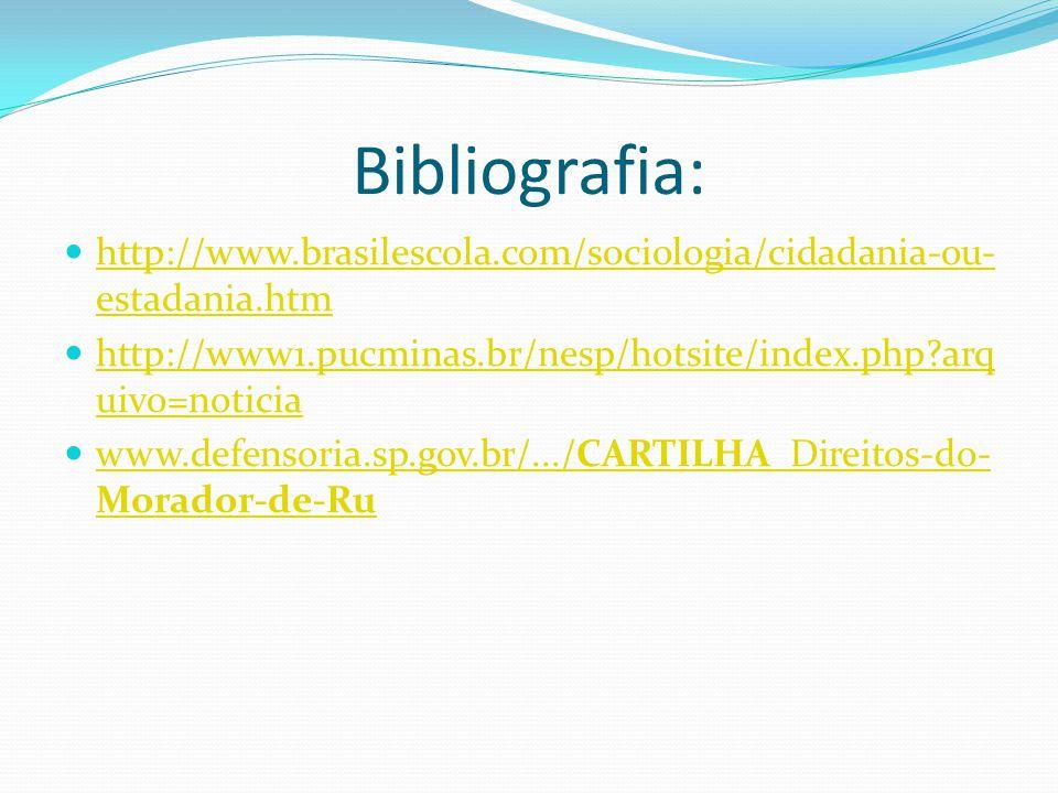 Bibliografia: http://www.brasilescola.com/sociologia/cidadania-ou- estadania.htm http://www.brasilescola.com/sociologia/cidadania-ou- estadania.htm ht