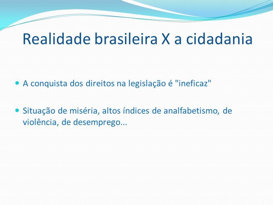 Realidade brasileira X a cidadania A conquista dos direitos na legislação é