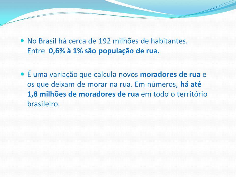 No Brasil há cerca de 192 milhões de habitantes. Entre 0,6% à 1% são população de rua. É uma variação que calcula novos moradores de rua e os que deix