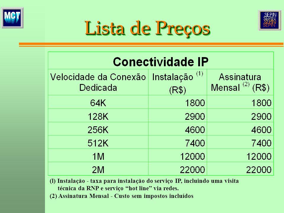 (l) Instalação - taxa para instalação do serviço IP, incluindo uma visita técnica da RNP e serviço hot line via redes. (2) Assinatura Mensal - Custo s