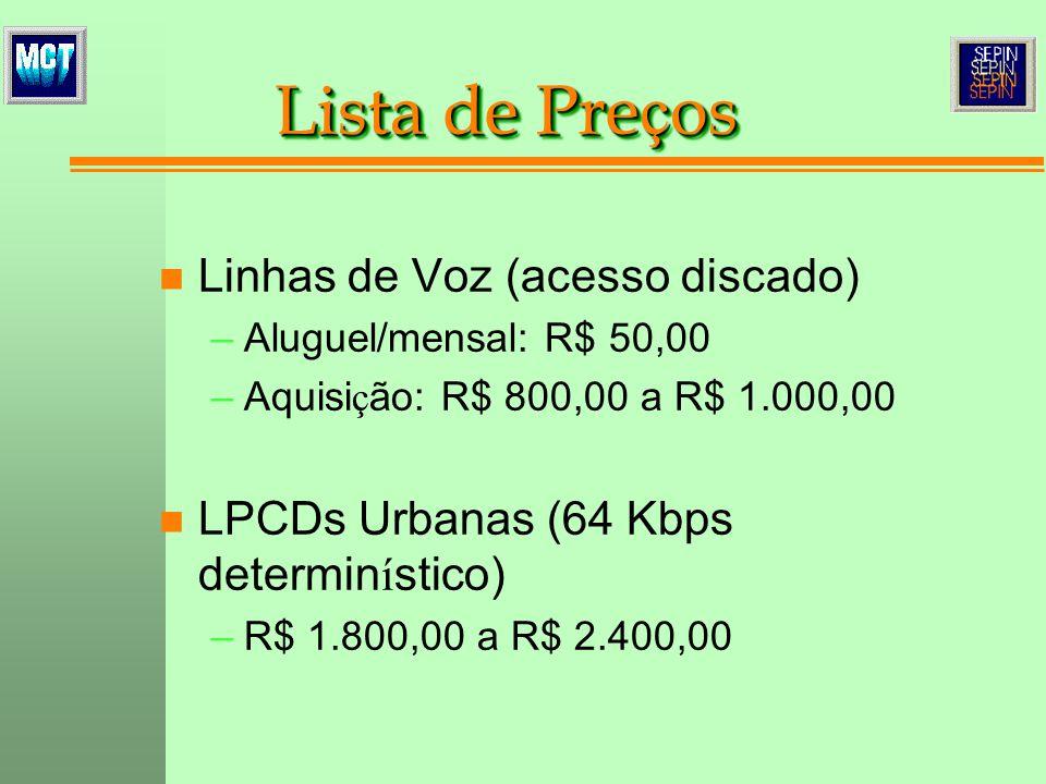 n Linhas de Voz (acesso discado) –Aluguel/mensal: R$ 50,00 –Aquisi ç ão: R$ 800,00 a R$ 1.000,00 n LPCDs Urbanas (64 Kbps determin í stico) –R$ 1.800,