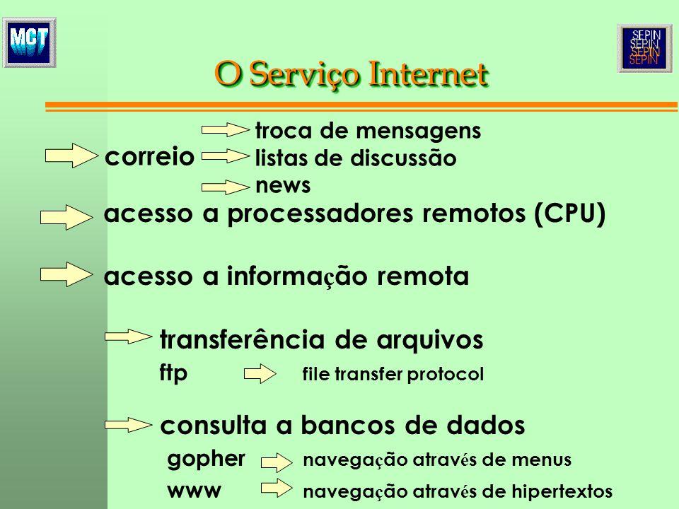 acesso a processadores remotos (CPU) acesso a informa ç ão remota transferência de arquivos ftp file transfer protocol consulta a bancos de dados goph