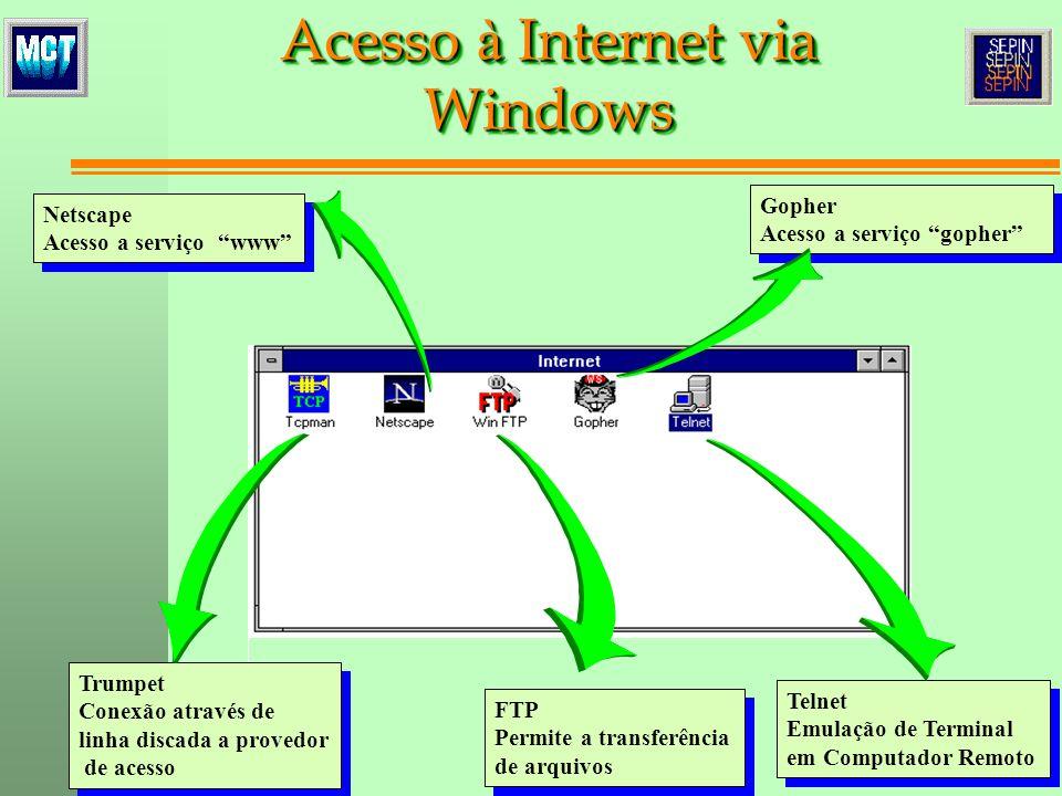 Netscape Acesso a serviço www Netscape Acesso a serviço www Trumpet Conexão através de linha discada a provedor de acesso Trumpet Conexão através de l
