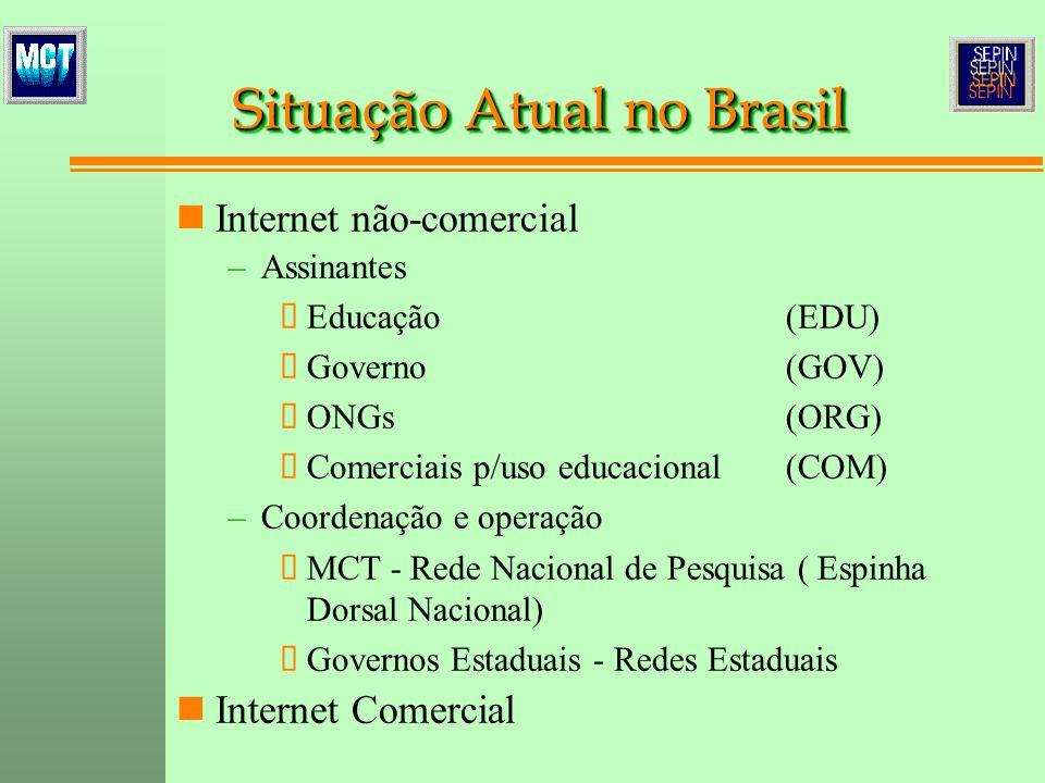 Internet não-comercial – –Assinantes Educação(EDU) Governo(GOV) ONGs(ORG) Comerciais p/uso educacional(COM) – –Coordenação e operação MCT - Rede Nacional de Pesquisa ( Espinha Dorsal Nacional) Governos Estaduais - Redes Estaduais Internet Comercial Situa ç ão Atual no Brasil