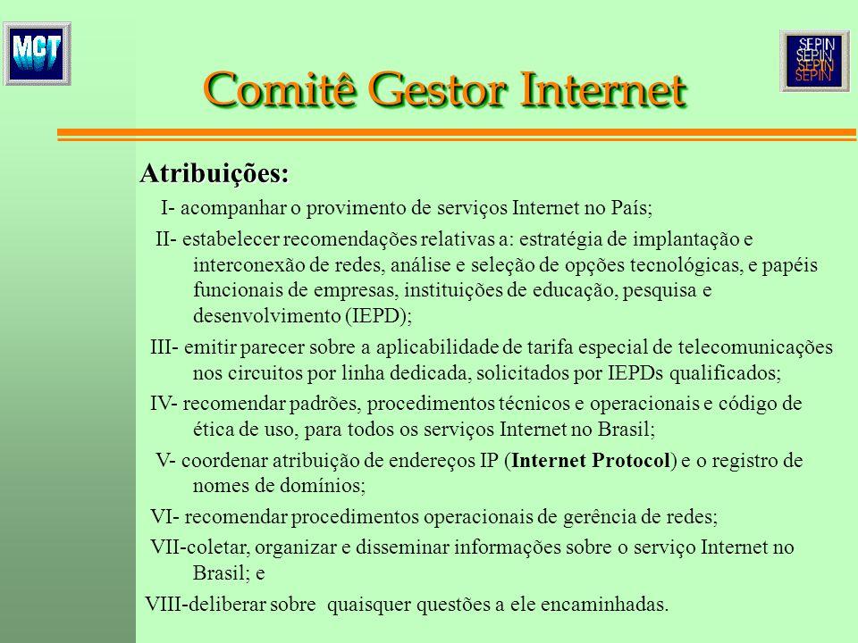 Atribuições: I- acompanhar o provimento de serviços Internet no País; II- estabelecer recomendações relativas a: estratégia de implantação e intercone