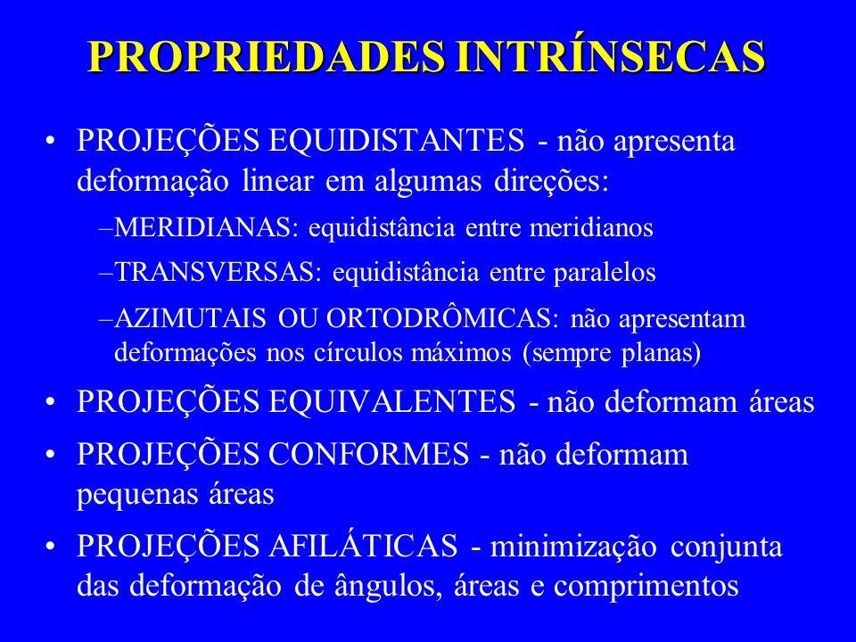 PROPRIEDADES INTRÍNSECAS PROJEÇÕES EQUIDISTANTES - não apresenta deformação linear em algumas direções: –MERIDIANAS: equidistância entre meridianos –T