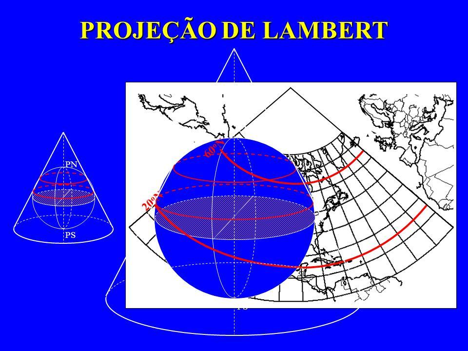 PROJEÇÃO DE LAMBERT PN PS PN PS 20 o N 60 o N
