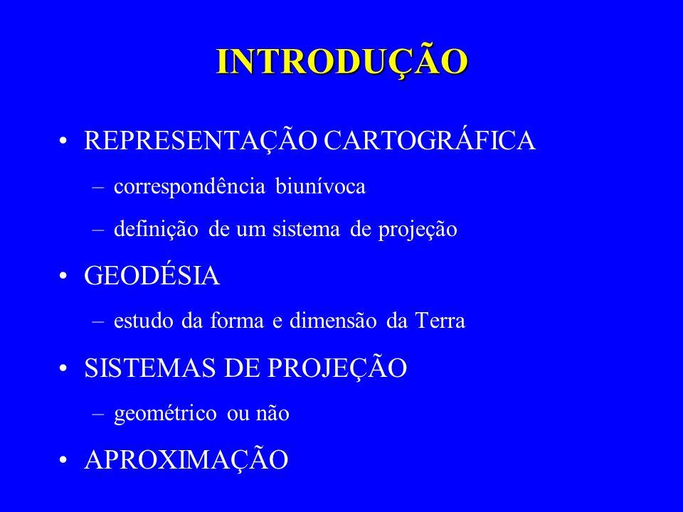 INTRODUÇÃO REPRESENTAÇÃO CARTOGRÁFICA –correspondência biunívoca –definição de um sistema de projeção GEODÉSIA –estudo da forma e dimensão da Terra SI