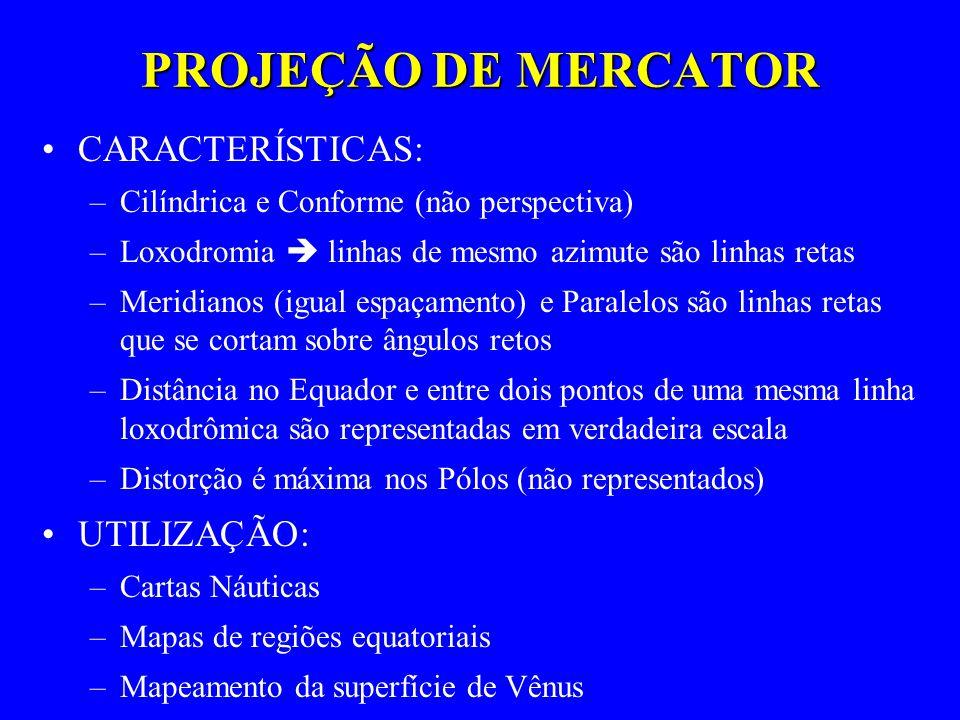 PROJEÇÃO DE MERCATOR CARACTERÍSTICAS: –Cilíndrica e Conforme (não perspectiva) –Loxodromia linhas de mesmo azimute são linhas retas –Meridianos (igual