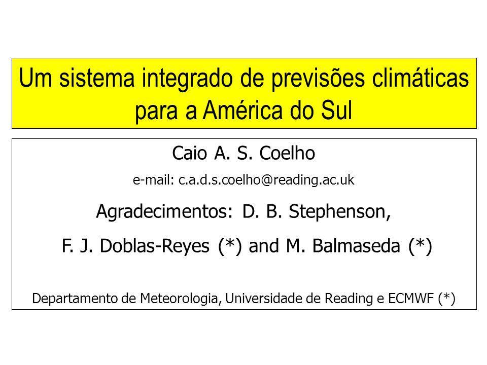 Caio A. S. Coelho e-mail: c.a.d.s.coelho@reading.ac.uk Agradecimentos: D. B. Stephenson, F. J. Doblas-Reyes (*) and M. Balmaseda (*) Departamento de M